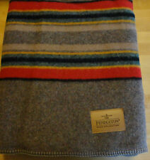 """NWT PENDLETON WOOL BLANKET QUEEN BLANKET EARTH BEIGE & NAVY RED AC """"MADE IN USA"""""""