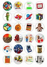 24 80's 1980s Toys Retro Wafer Rice Paper Cupcake Topper Edible Fairy Cake Tops