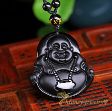 100% Natural Black Obsidian Hand-carved Buddha Amulet Pendant Free Necklace  LS