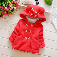 Toddler Kids Girls Baby Coat Warm Hooded Outerwear Children Cute Clothing Tops