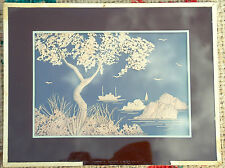 Vintage framed chinese cork carved wall picture of a sailing ship, trees & sea