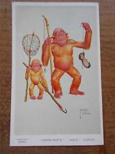 Vintage LAWSON WOOD Artist Signed Comical Monkey Fishing Postcard Gran Pops VGC