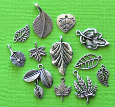 Leaf Charm Collection 12 Tibetan Silver Tone Charms FREE Shipping E25