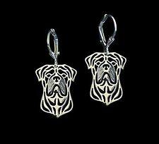 Bull Mastiff  Dog Earrings-Fashion Jewellery Silver Plated, Leverback Hook