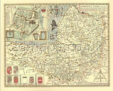 Somerset Bath map Replica Old  John Speed c.1610. ALL HAND COLOURED UNIQUE GIFT