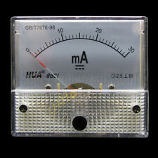DC 30mA Analog Panel AMP Current Meter Ammeter Gauge 85C1 0-30mA DC White
