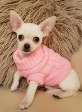 Chihuahua (XXS) Christmas Knitted Jumper Pink Pet Dog Clothes Knitted Sweater