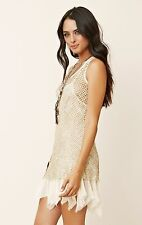 NEW Free People Intimately Slip Sequin Fishnet Dress Beige X-Small $248 Z2067