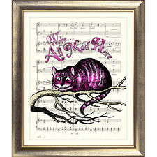ART PRINT ORIGINAL VINTAGE MUSIC SHEET Page CHESHIRE CAT Alice in Wonderland OLD