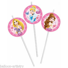 6 Disney Princess Style Party Disposable Medallion Drinking Straws