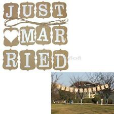 Just Married Photo Booth Props Wedding Decoration Bunting Garland Banner Rustic