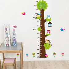 Owl Tree Height Growth Chart Wall Stickers Measure Decal Removable Kid Decor