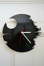 Star Wars, Dead Star design wall clock, made from black plexiglass [ D-3 ]