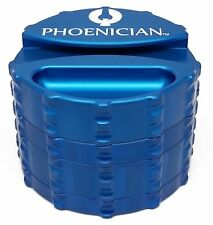 Phoenician Herbal Grinder - Large 4 Piece w/ Papers Holder - Blue