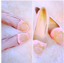 DE MARIO collection for BEVERLY HILLS HOTEL pink suede velvet loafers slippers