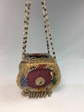 Antique Vintage Beaded Native Indian Iroquois Box Purse Beaded 4 String Strap