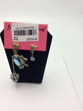 Betsey Johnson Two Tone REPTILES Frog Crown Bug Mismatch Earrings $45 #88