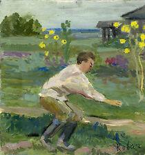 """Russischer Realist Expressionist Öl Leinwand """"Bauer"""" 40 x 37 cm"""