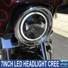 "7"" Round LED Motorcycle Headlight Daymaker Black Projector DRL Halo For Harley"