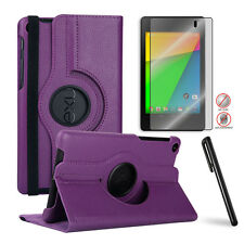 Google Nexus 7 2nd 360 Swivel PU Leather Case+Free Matte Screen Protector/Stylus