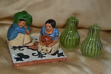 LOT of 2 vtg 40s Tlaquepaque MEXICAN salt and pepper shakers with TILE figural