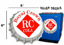 "6""  RC ROYAL CROWN COLA BOTTLE CAP DECAL COOLERS SODA POP MACHINE STYLE 1"