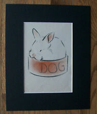 Rabbit Print Clare Newberry Bunny Sleeping In Dog Bowl Bookplate 1942 Matted
