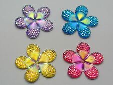 20 Mixed Color Flatback Resin Flower Dotted Rhinestone Cabochon 28mm No Hole