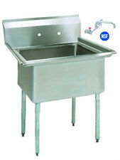 Stainless Steel (1) One Compartment Utility Prep Mop Sink 23 x 24 with Faucet
