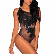 Ladies Women Lace Mesh See Though Sexy Fitted Bodysuit Leotard Top Shirt Jumsuit