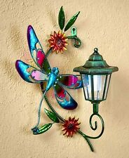 Dragonfly Solar Lighted Wall Light Lantern Patio Deck Fence Yard Garden Decor