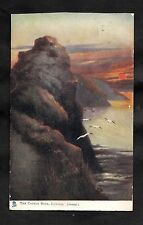 Posted 1904 Artist View of Castle Rock, Lynton at sunset