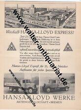 Hansa Lloyd Werke Bremen Express LKW Große Werbeanzeige 1929 Reklame advertising