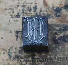FU  UF Monogramm Bleisatz Druckstock Klischee Stempel Buchstabe Initiale Vintage