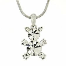 "W Swarovski Crystal Teddy Bear Cute Pendant Necklace Jewelry 18"" Chain"