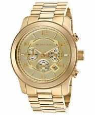 Michael Kors MK8077 Men's Runway Chronograph Gold-Tone Stainless Steel Dial