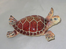 """Sea Turtle Figurine Brown Red Shell New Water Animals Tropical 6.5"""" Long"""