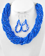 MULTI STRAND ROYAL BLUE GLASS SEED BEAD NECKLACE EARRING SET