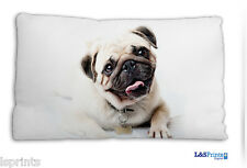 SMILEY HAPPY PUG DESIGN SMALL CUSHION IDEAL GIFT CAR TRAVEL ACCESSORY