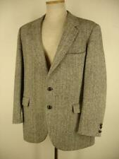 L sz 44R Harris Tweed Black Gray Herringbone Tweed Wool Sport Coat Blazer Jacket