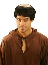 BROWN MONK ROBE WITH ROPE BELT & TONSURE BALD HEAD WIG FANCY DRESS FULL COSTUME