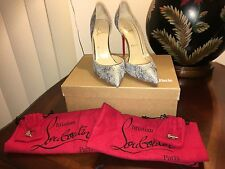 Womens AUTH New CHRISTIAN LOUBOUTIN IRIZA HEELS MADE IN ITALY SILVER 39 8.5