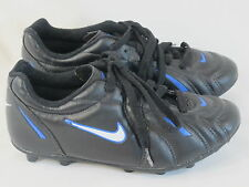 Nike Black White & Blue Outdoor Soccer Cleats Boy's Size 4 US Shoes Near Mint