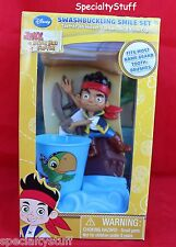 NEW JAKE & NEVER LAND PIRATES SMILE SET TOOTHBRUSH HOLDER RINSE CUP & BRUSH (SP)