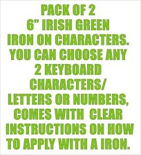 "2 6"" IRISH IRON ON LETTERS & NUMBERS TRANSFER PRINTING"