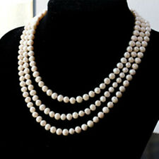 BEAUTIFUL!64 INCH 8-9MM WHITE AKOYA PEARL NECKLACE AAA