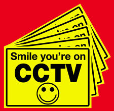 """SMILE YOUR ON CCTV"" STICKERS -10 IN A PACK.WINDOW TYPE. 70 x 50 mm"
