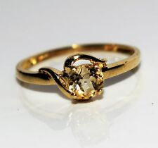 9ct Yellow Gold Citrine Solitaire ring size N 1/2 ~ US 7