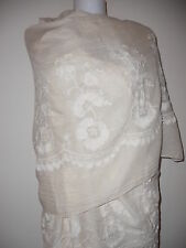 NEW CREAM FLORAL EMBROIDERY SCARF COTTON SCARVES GIFT  SHAWLS GIFT JEAN HUGE