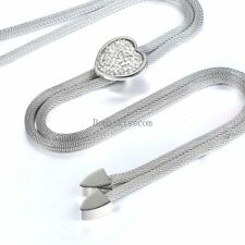 Ladies Silver Tone Stainless Steel Ladies Mesh Chain Necklace w Rhinestone Heart
